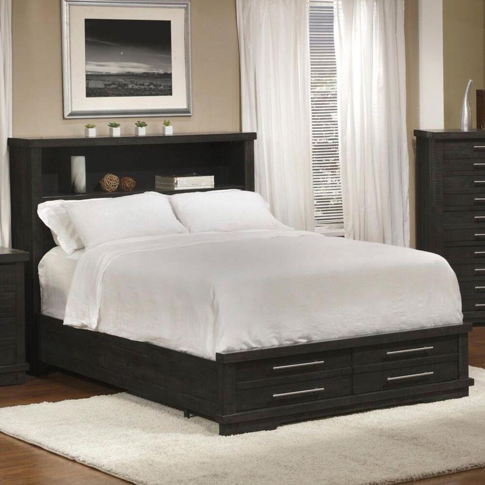Martin Svensson Home Waterfront King Bookcase Storage Bed in Dark Gray, , large