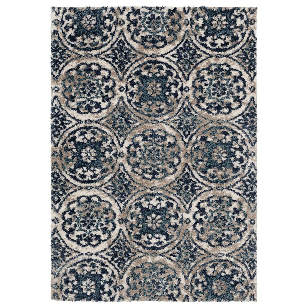 Central Oriental Tulsa Ledyard 9865CRN 8' x 10' White Sand and Blue Navy Area Rug, , large