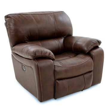 Oxford Furniture Cheers Leather Power Recliner with Power Headrest in Saddle, , large