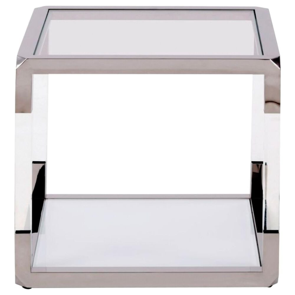 Urban Home Jasper End Table in Polish Stainless Steel and Clear, , large