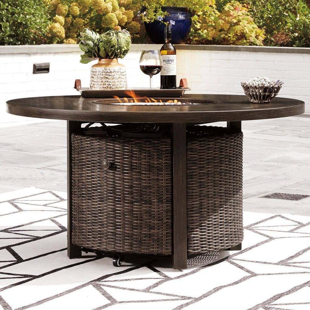 Signature Design by Ashley Paradise Trail Round Fire Pit Table in Medium Brown, , large
