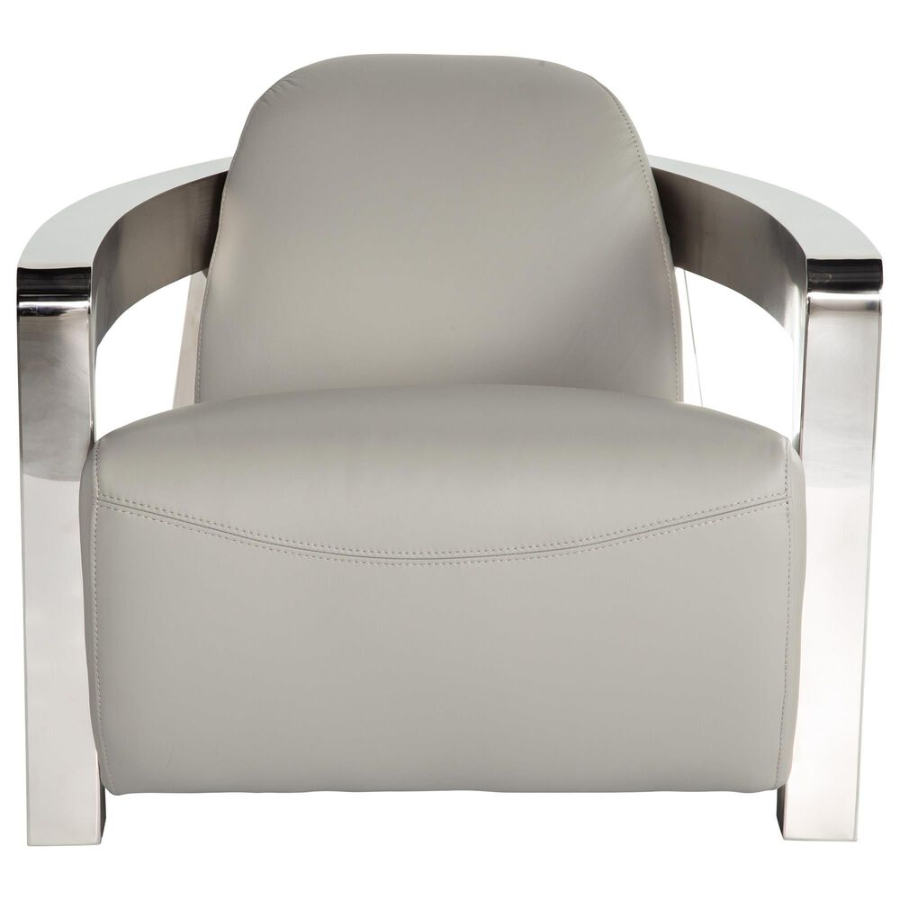 Back Nine Leather Aviator Chair in Grey and Silver, , large