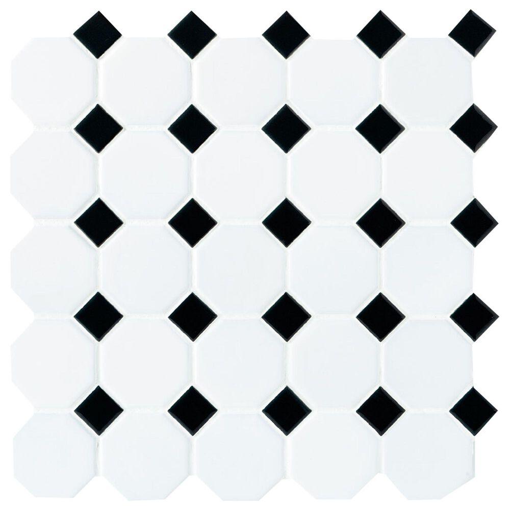 "Dal-Tile Matte White with Black Gloss Dot 12"" x 12"" Glass Mosaic Sheet, , large"
