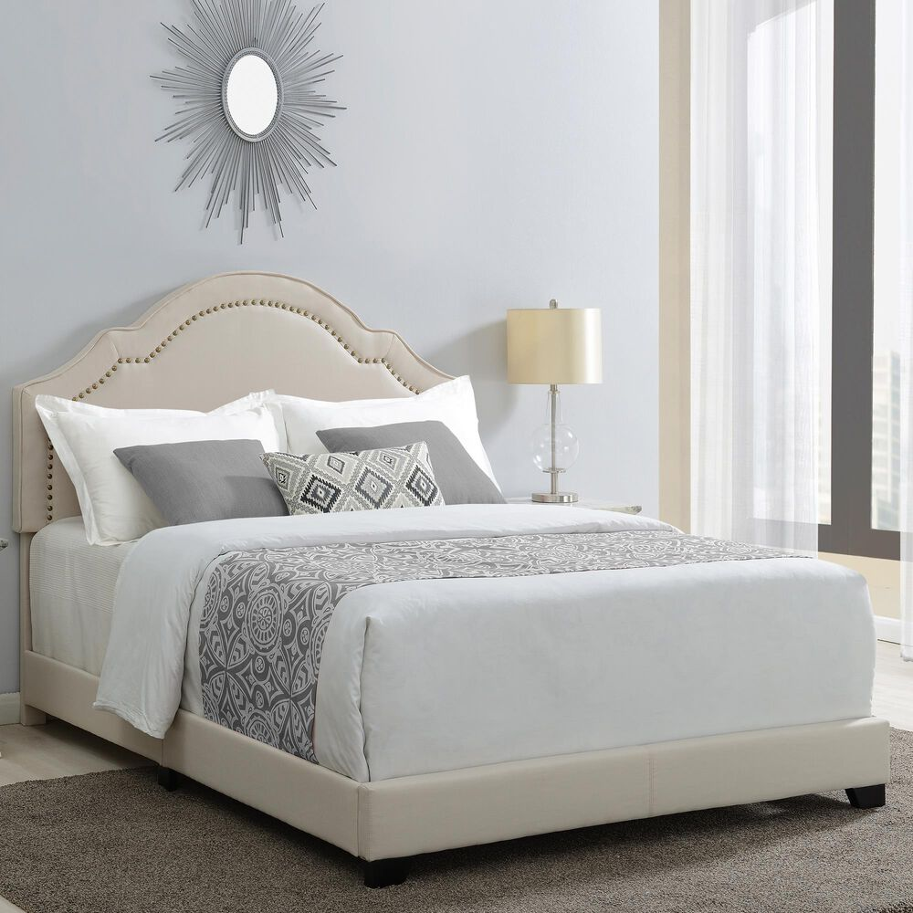 Accentric Approach Anne Twin Upholstered Bed in Cream, , large