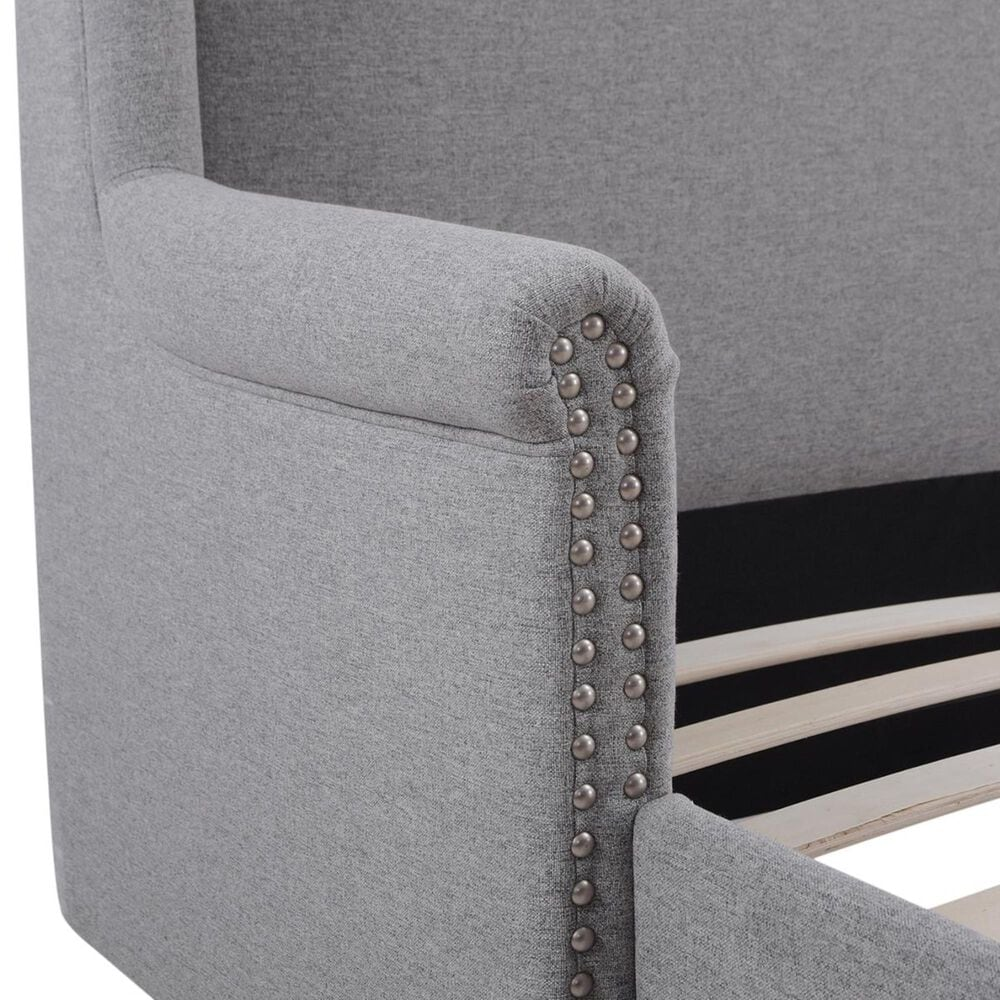 Jennifer Taylor Home Sandy Wilson Home Clarice Wingback Accent Queen Bed in Light Grey, , large