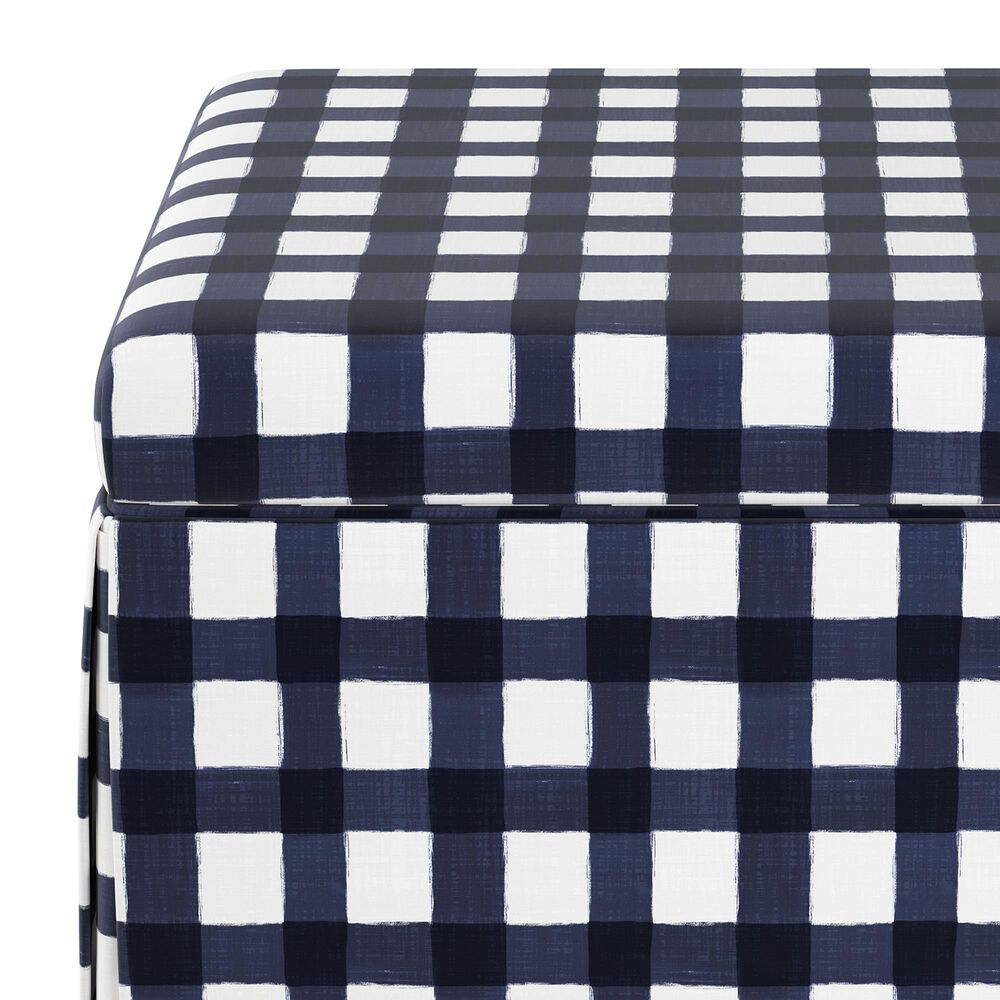 Skyline Furniture Storage Ottoman in Buffalo Gingham Blue, , large