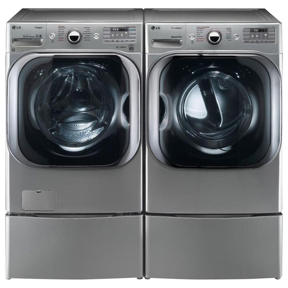 LG 5.2 Cu. Ft. Front Load Washer and 9.0 Cu. Ft. Electric Dryer Laundry Pair with Pedestals in Graphite Steel, , large