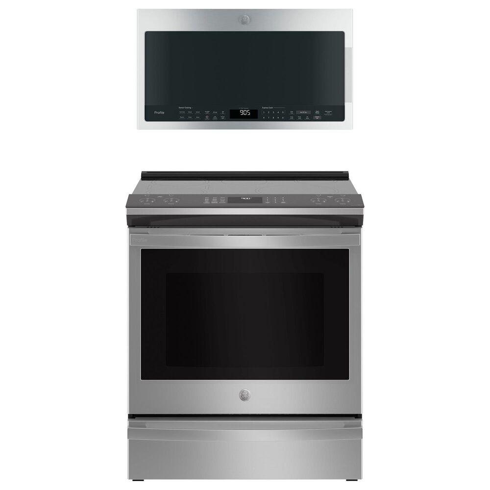 GE Appliances 5.3 Cu. Ft. Smart Slide-In Electric Range and 2.1 Cu. Ft. Over-the-Range Sensor Microwave Oven in Fingerprint Resistant Stainless Steel, , large