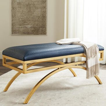 Safavieh Moon Arc Bench in Navy/Gold, , large