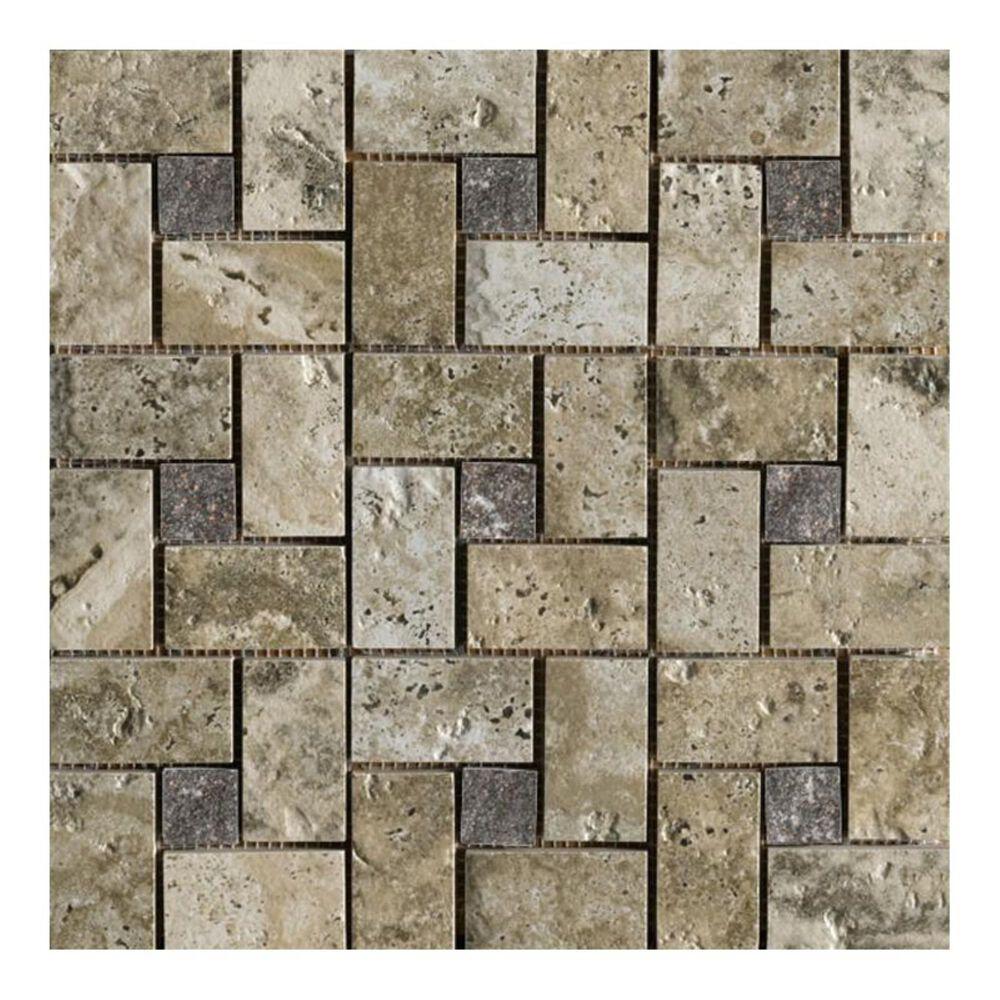 "Marazzi Archaeology Crystal River 13"" x 13"" Porcelain Pinwheel Mosaic Sheet, , large"