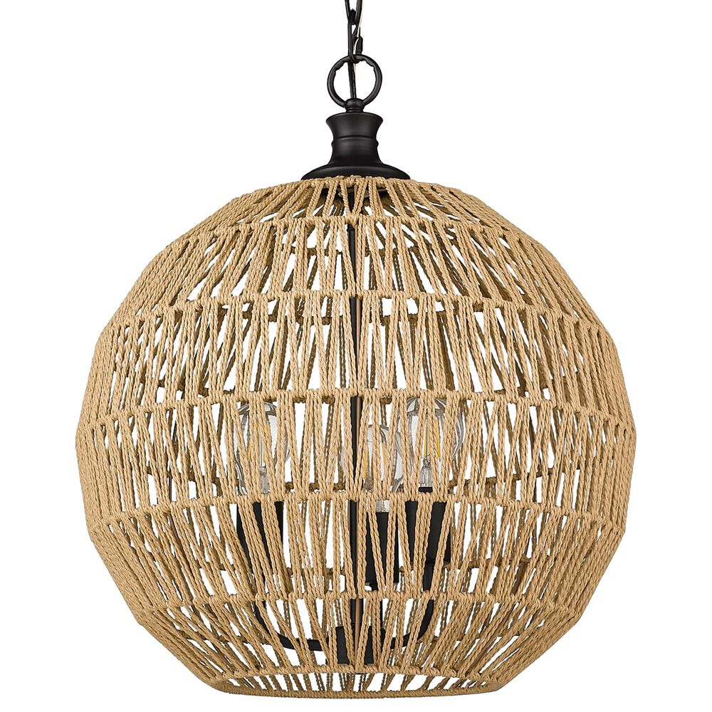 Golden Lighting Florence 3-Light Pendant with Natural Rope in Matte Black, , large