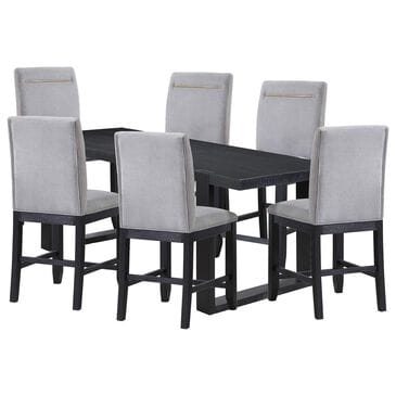 Steve Silver Yves 7-Piece Counter Dining Set in Rubbed Charcoal, , large