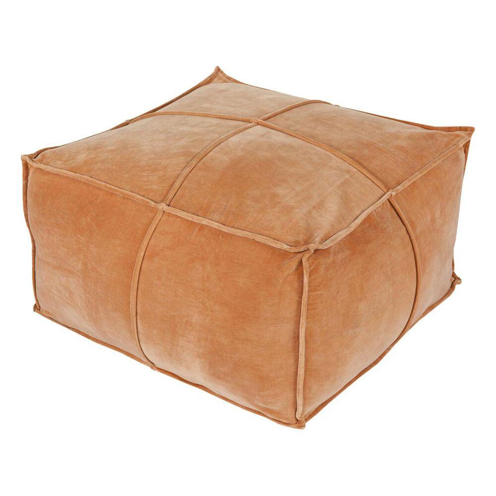 Surya Inc Cotton Velvet Cube Pouf in Rust, , large
