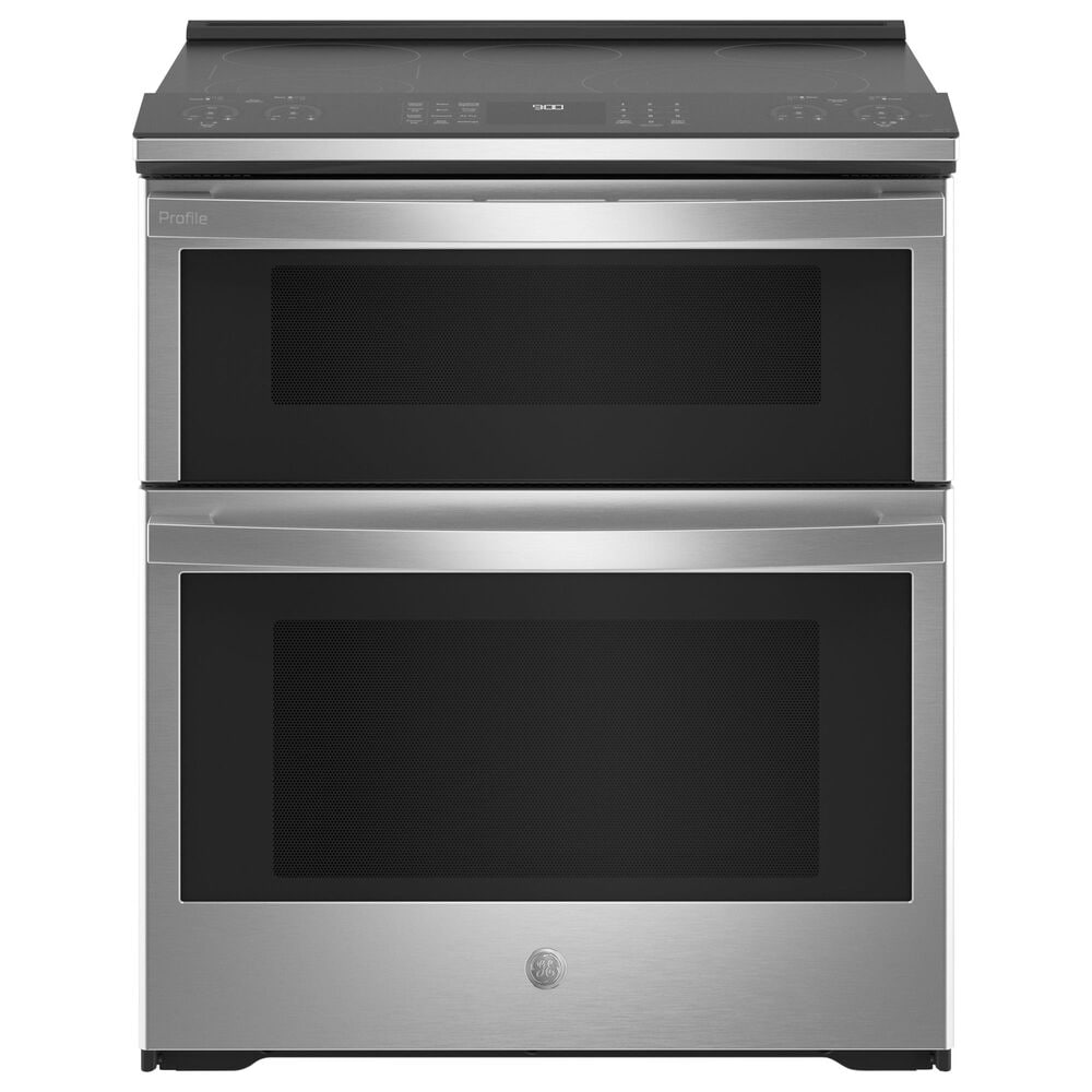 "GE Profile 30"" Slide-In Electric Double Oven Fingerprint Resistant Range in Stainless Steel, , large"