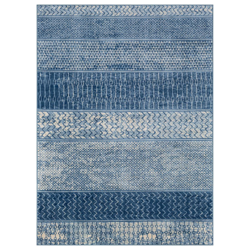 Surya Monaco MOC-2305 2' x 3' Bright Blue, Navy and Cream Scatter Rug, , large
