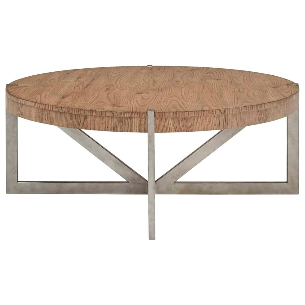 Vantage Passage Round Cocktail Table in Light Oak and Vintage Pewter, , large