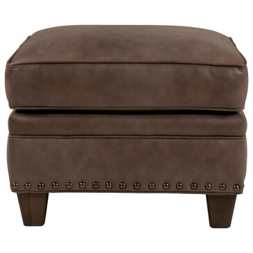 Smith Brothers Leather Ottoman in Light Taupe, , large