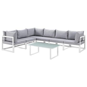 Modway Fortuna 7-Piece Outdoor Patio Sectional Set in White and Gray, , large