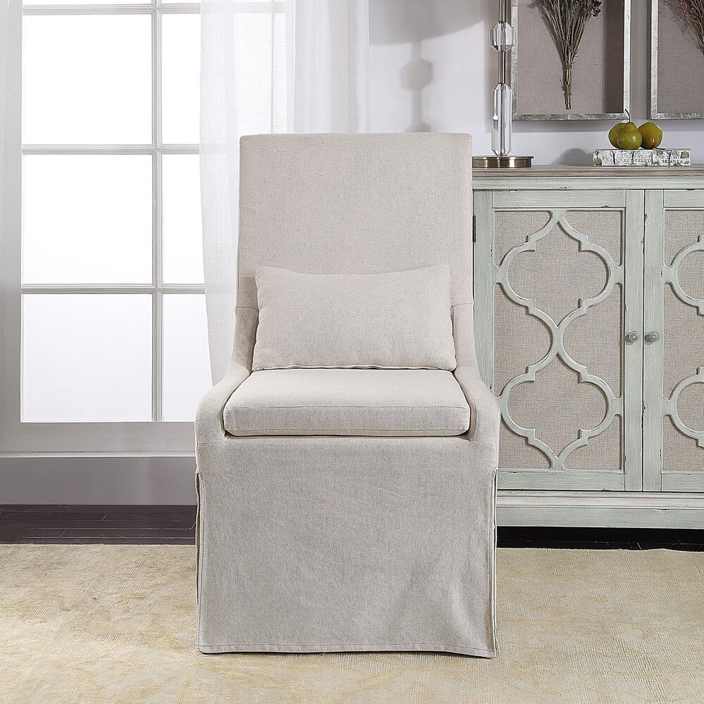 Uttermost Coley Armless Chair in Off White Linen, , large