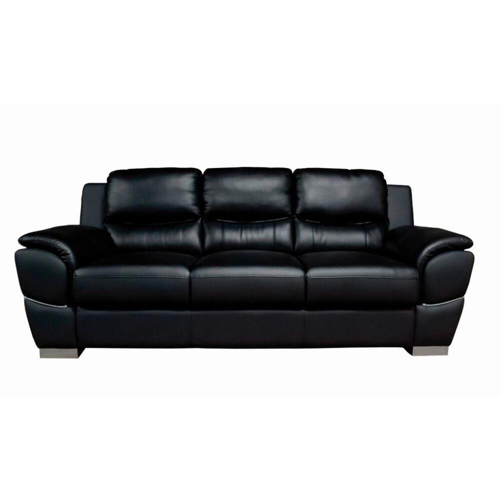 Titanic Furniture Breathable Faux Leather Sofa in Black, , large