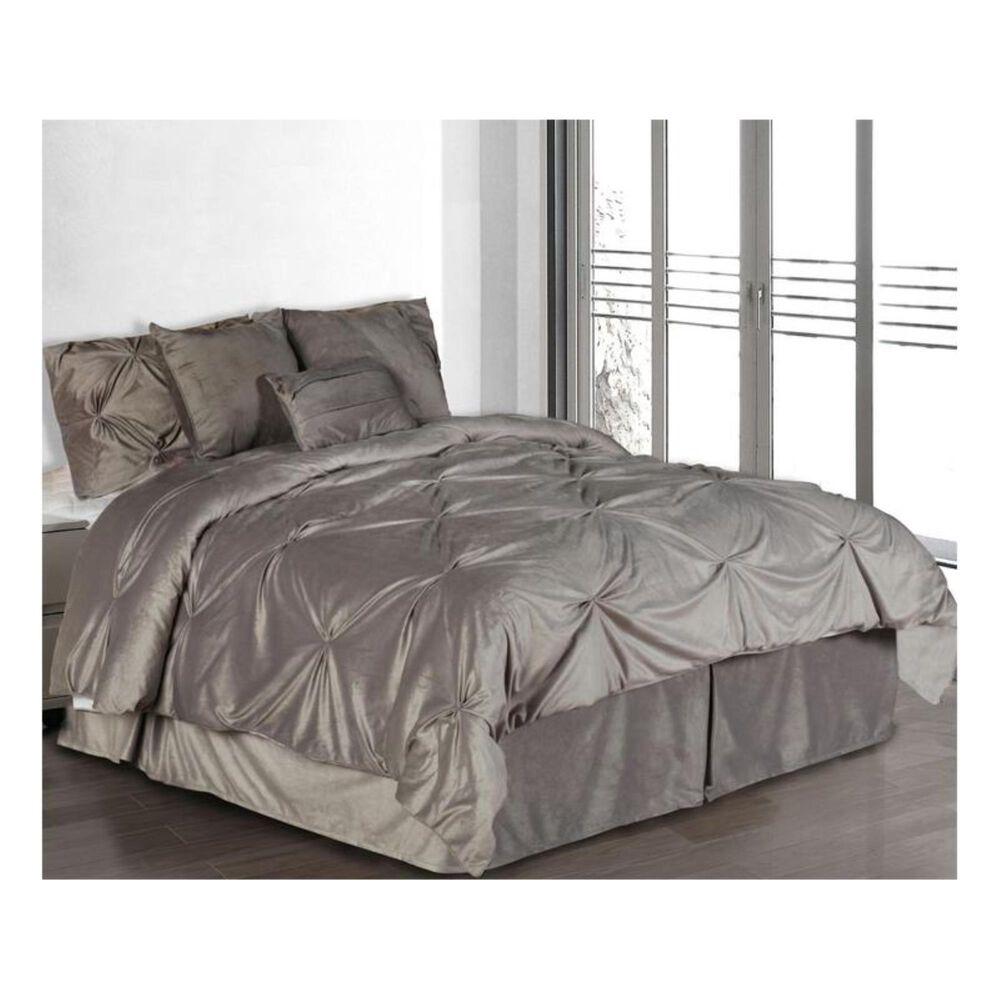Epoch Hometex Hudson Street Twin Pintuck Plush Comforter Set in Silver, , large