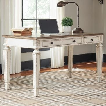 Signature Design by Ashley Realyn Lift Top Desk in White and Brown, , large
