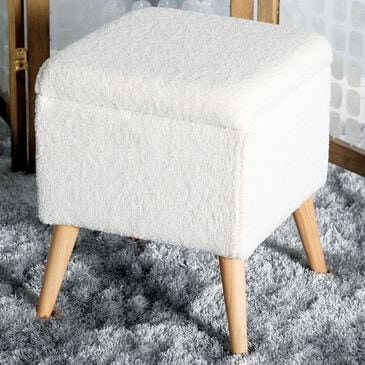 "Maple and Jade 19"" x 15"" Storage Stool in White, , large"