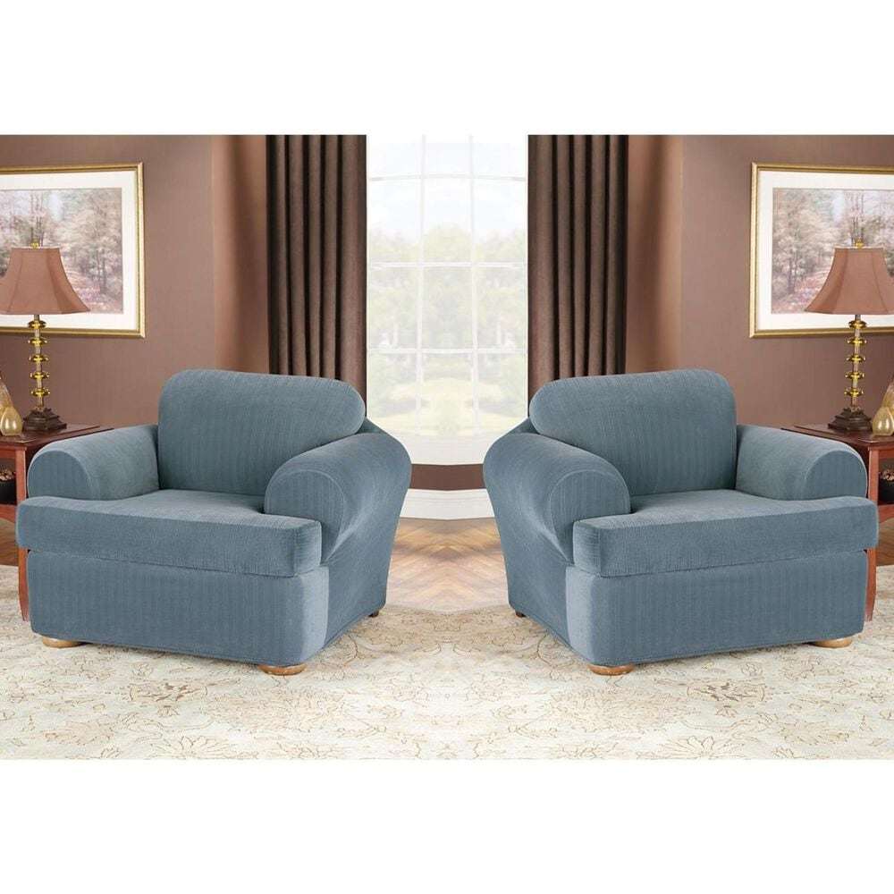 Surefit 2-Piece T-Cushion Chair Slipcover in French Blue, , large