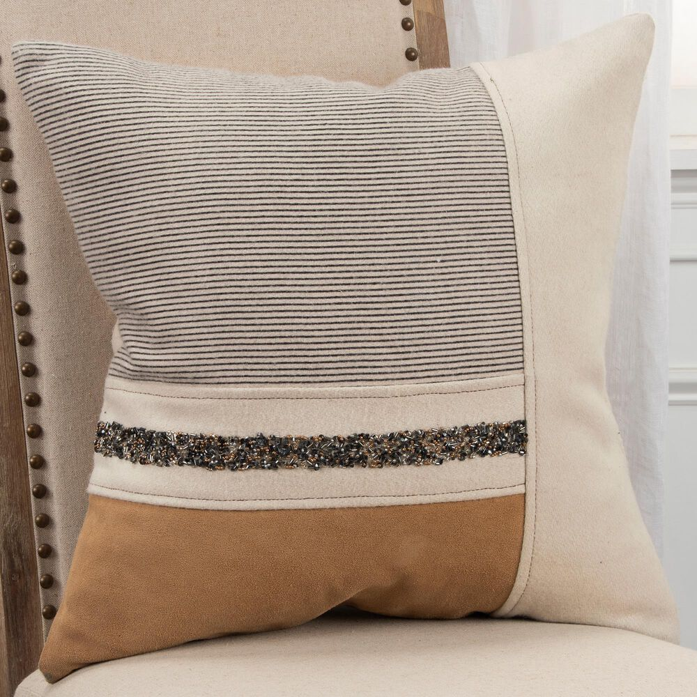 """Rizzy Home Striped 20"""" Pillow Cover in Natural, , large"""