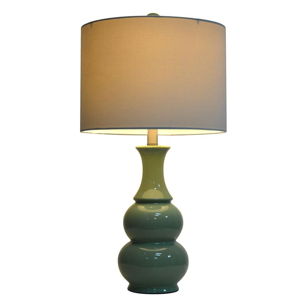 "Decor Therapy 26.5"" Ceramic Table Lamp in Green, , large"