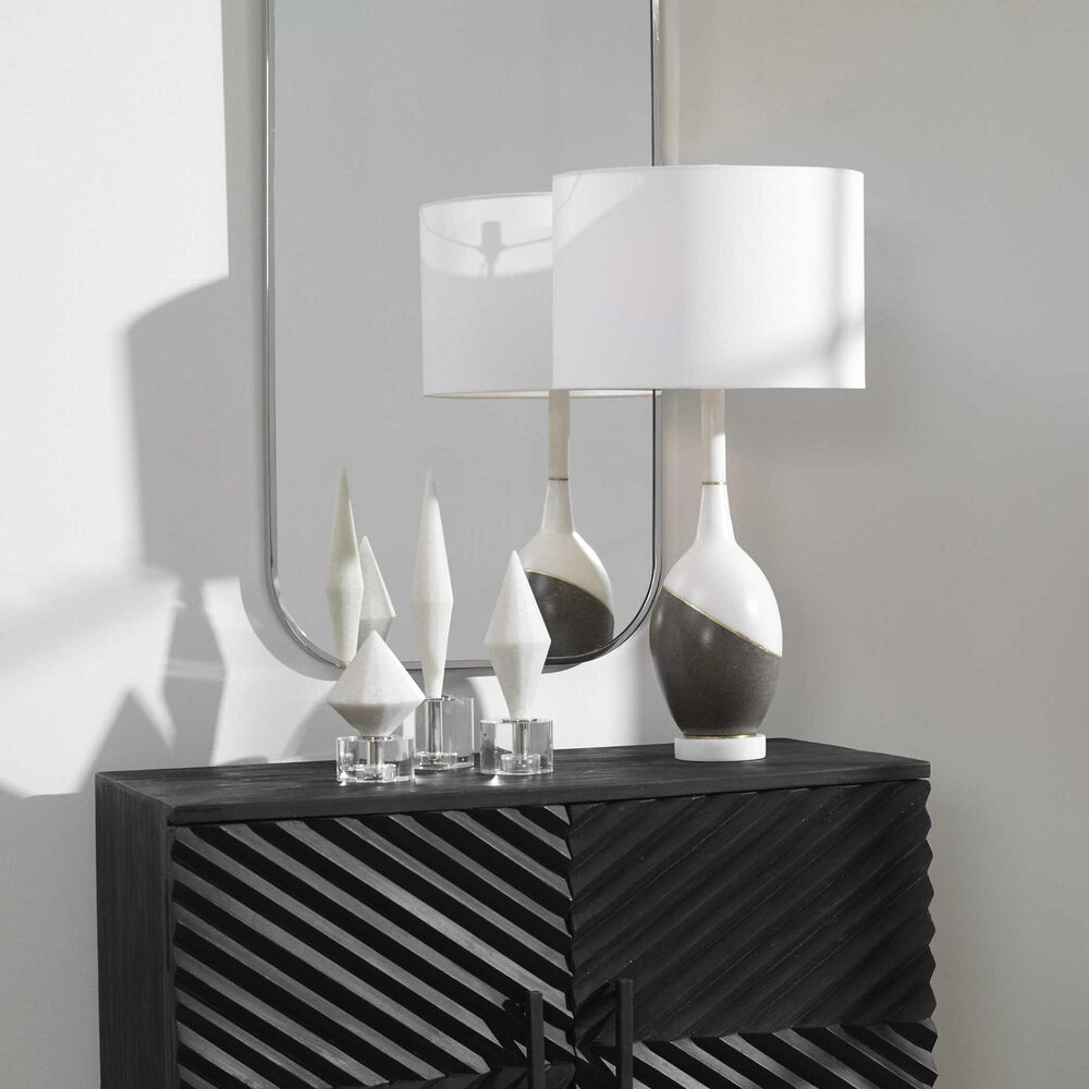 Uttermost Tanali Table Lamp in Charcoal, White and Brushed Gold, , large