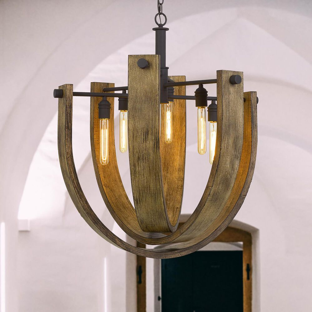 Cal Lighting Padova Chandelier in Light Oak and Iron, , large