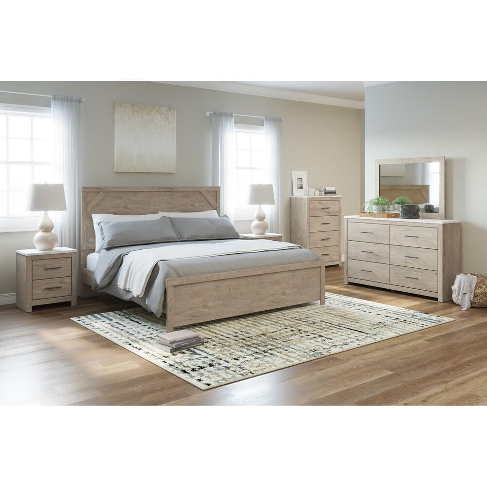 Signature Design by Ashley Senniberg 4 Drawer Chest in Light Brown and White, , large