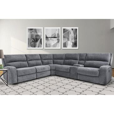 Simeon Collection Polaris 6-Piece Power Recliner with Power Headrest Sectional in Bizmark Gray, , large