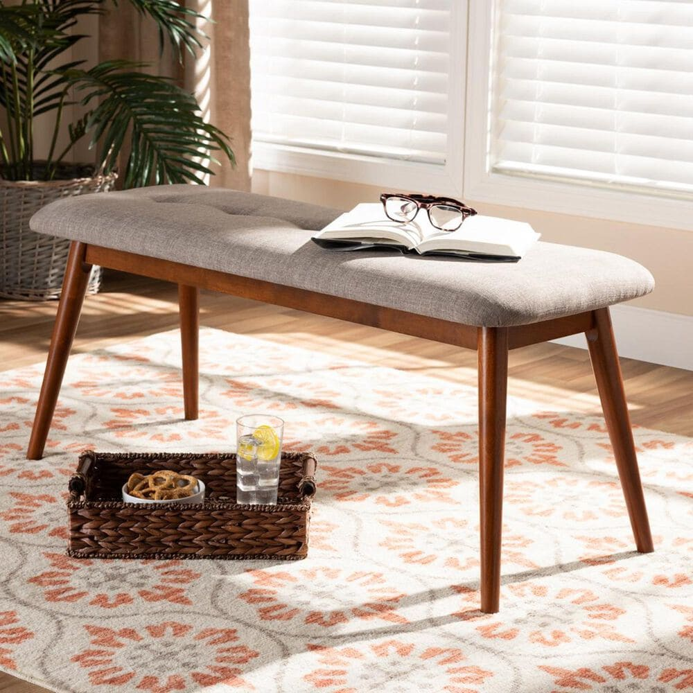 Baxton Studio Flora II Upholstered Dining Bench in Light Gray and Oak, , large