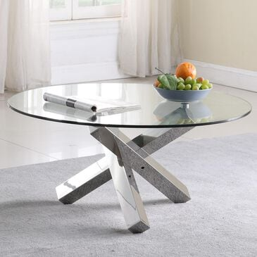 Monroe Round Cocktail Table in Stainless Steel, , large
