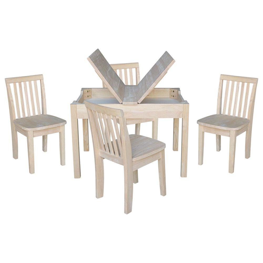 International Concepts Mission 5 Piece Juvenile Storage Table Set in Unfinished, , large