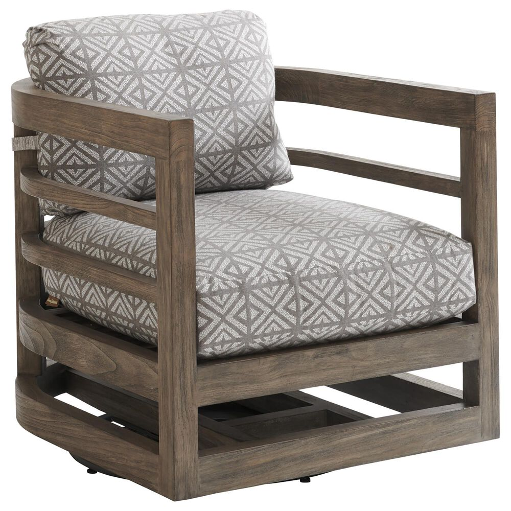 Lexington Furniture La Jolla Patio Outdoor Occasional Swivel Lounge Chair in Weathered Gray, , large