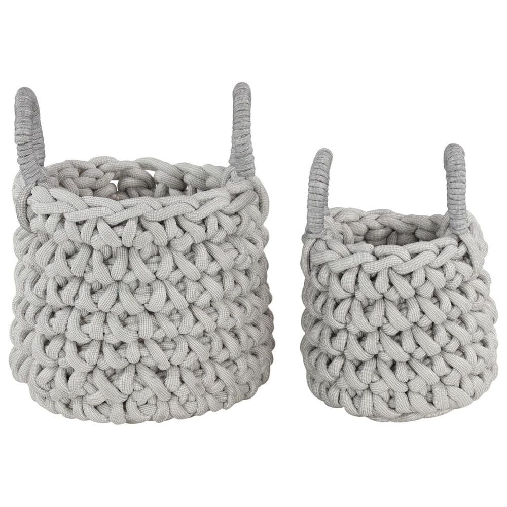 Maple and Jade Assorted Large Storage Baskets in Grey (Set of 2), , large