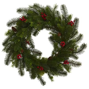 """Nearly Natural Inc 24"""" Pine and Berry Artificial Wreath, , large"""