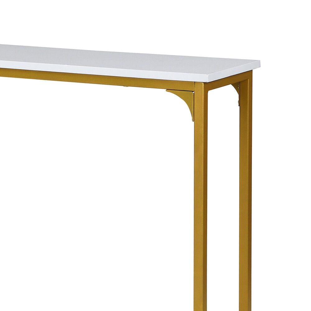 Carolina Chair and Table Stella Console Table in White and Gold, , large