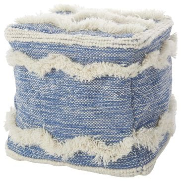 Nourison Life Styles Pouf in Blue, , large