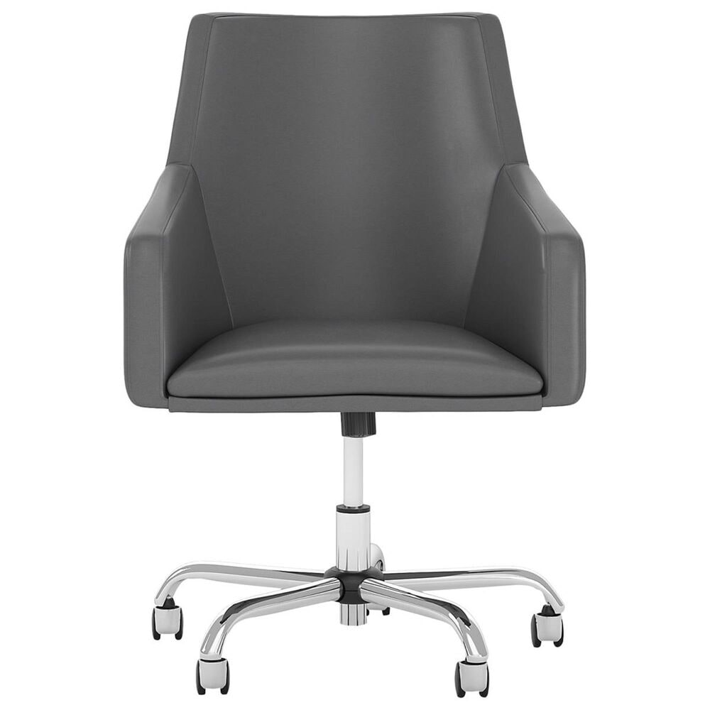 Bush Cabot Box Chair in Dark Gray Leather, , large