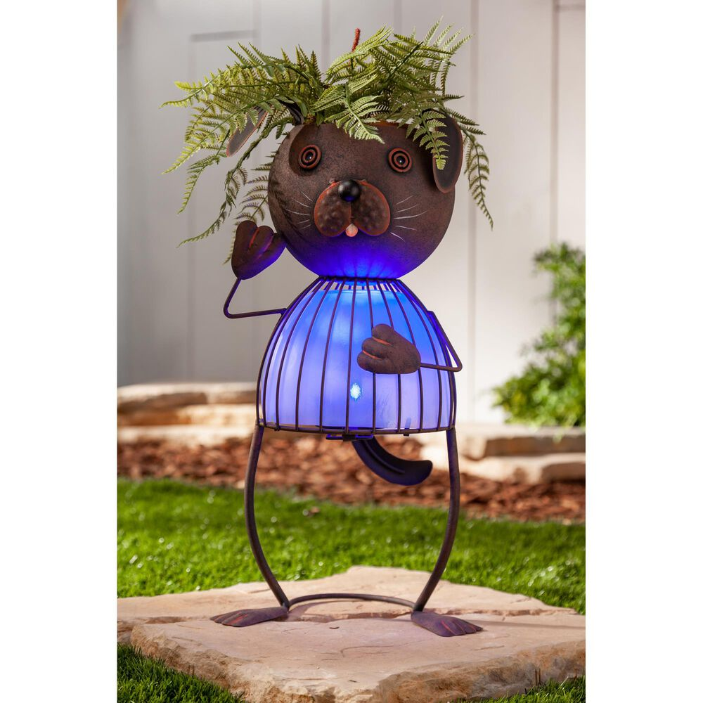 """The Gerson Company 20.87"""" Solar Lighted Garden Dog Pot Head in Rustic Brown, , large"""