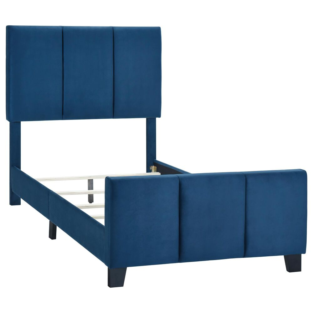 Accentric Approach Twin Panel Bed in Blue, , large