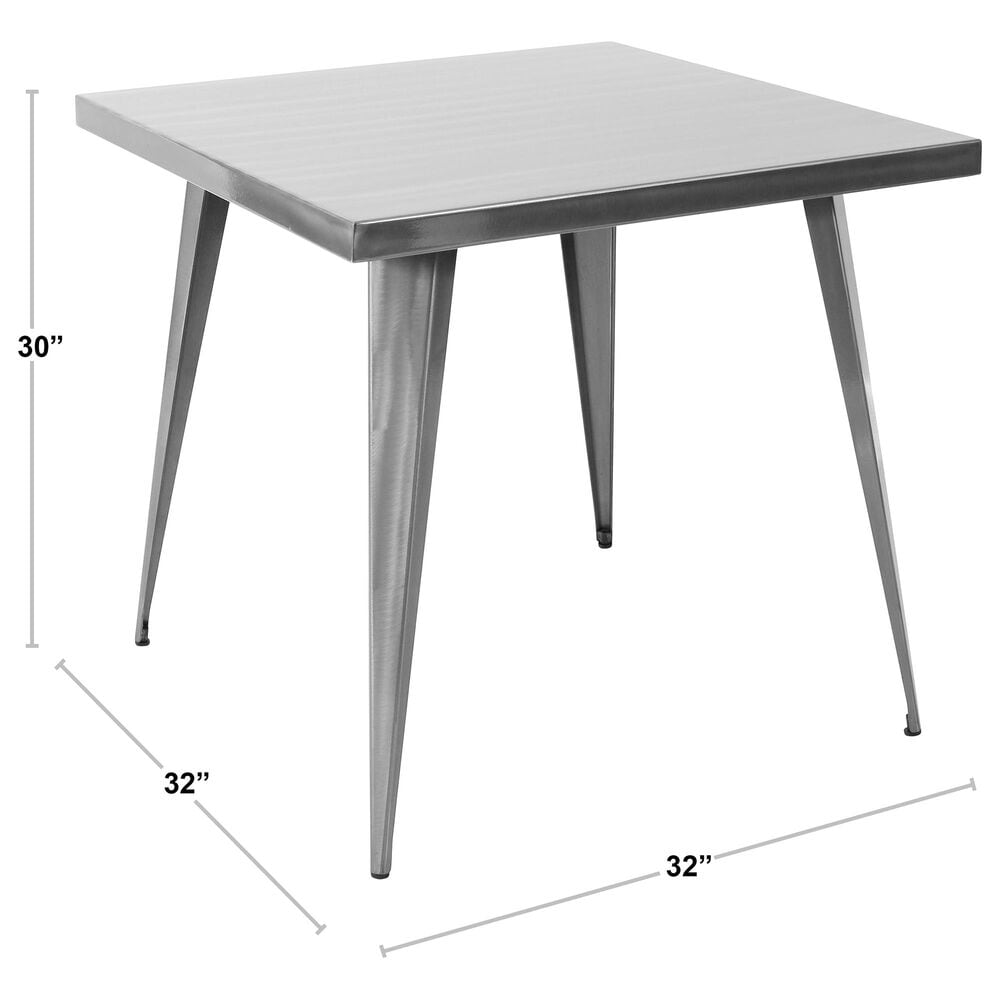 Lumisource Austin Dining Table in Brushed Silver/Brushed Silver, , large