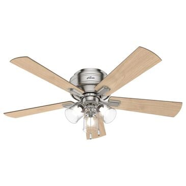 "Hunter Crestfield 52"" Low Profile LED Ceiling Fan in Brushed Nickel, , large"