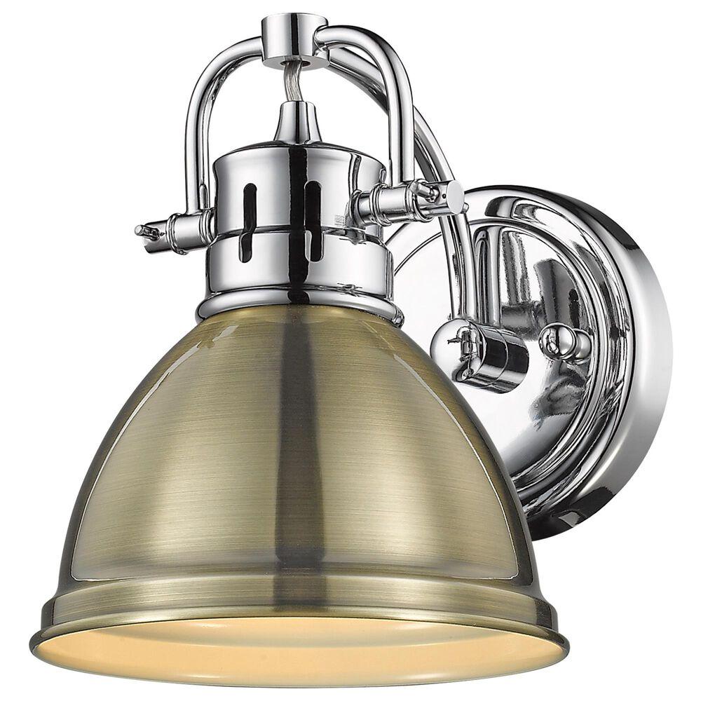 Golden Lighting Duncan 1-Light Bath Vanity in Chrome and Aged Brass, , large