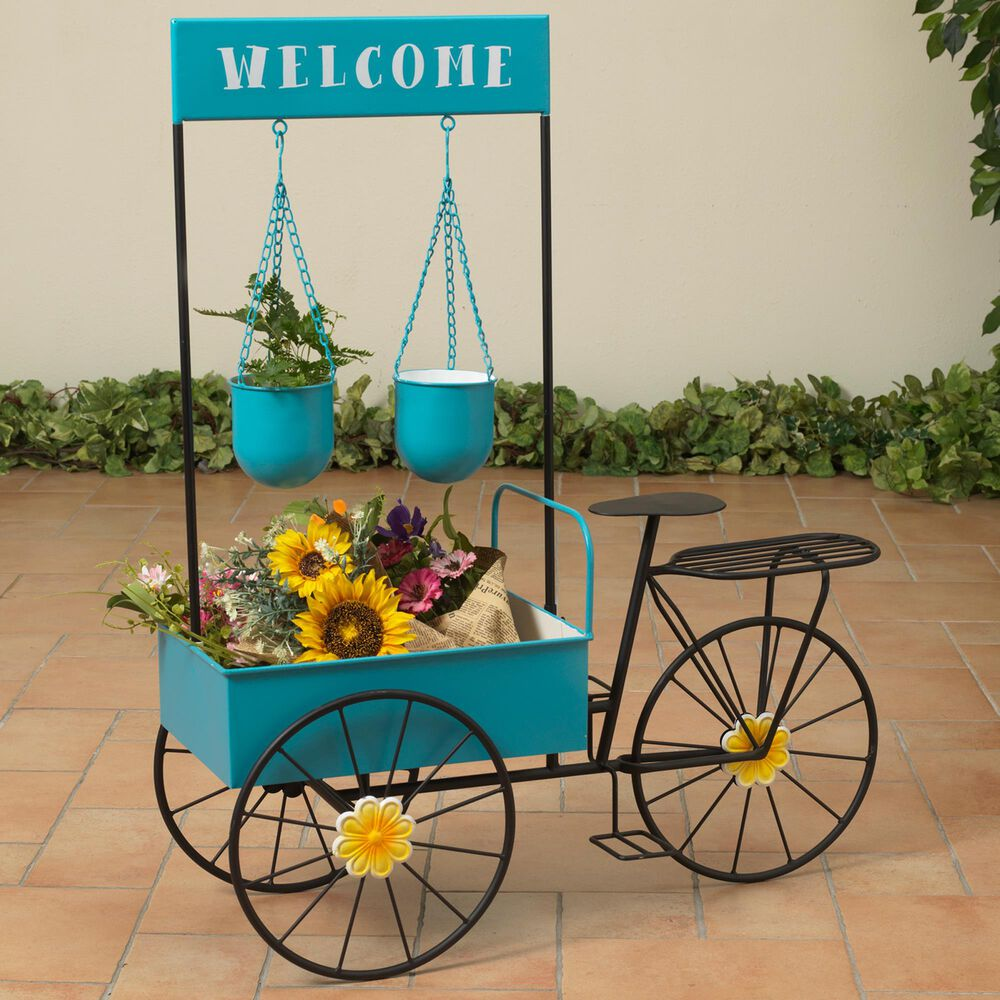 """The Gerson Company 37.5"""" Bicycle Flower Wind Cart Stand in Blue, , large"""