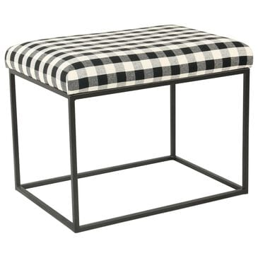 Kinfine Small Ottoman in Black and White, , large